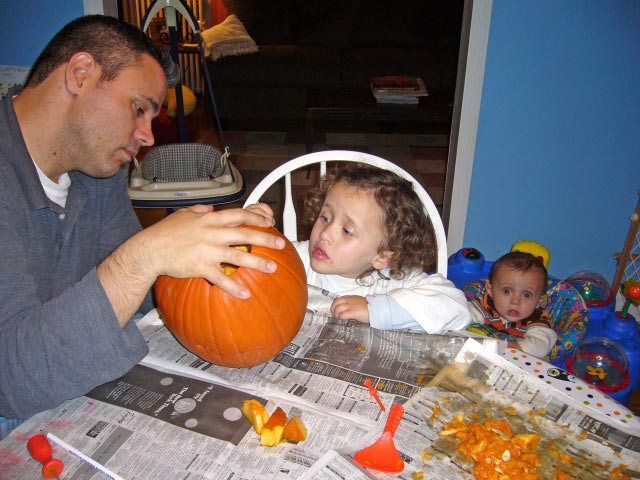 Mallory: Daddy, let's gut the pumpkin!  Max: What tha?!?